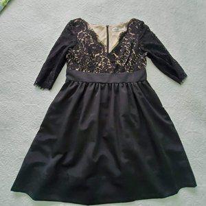 Eliza J Missy Dress Black Lace Top 3/4 Sleeves